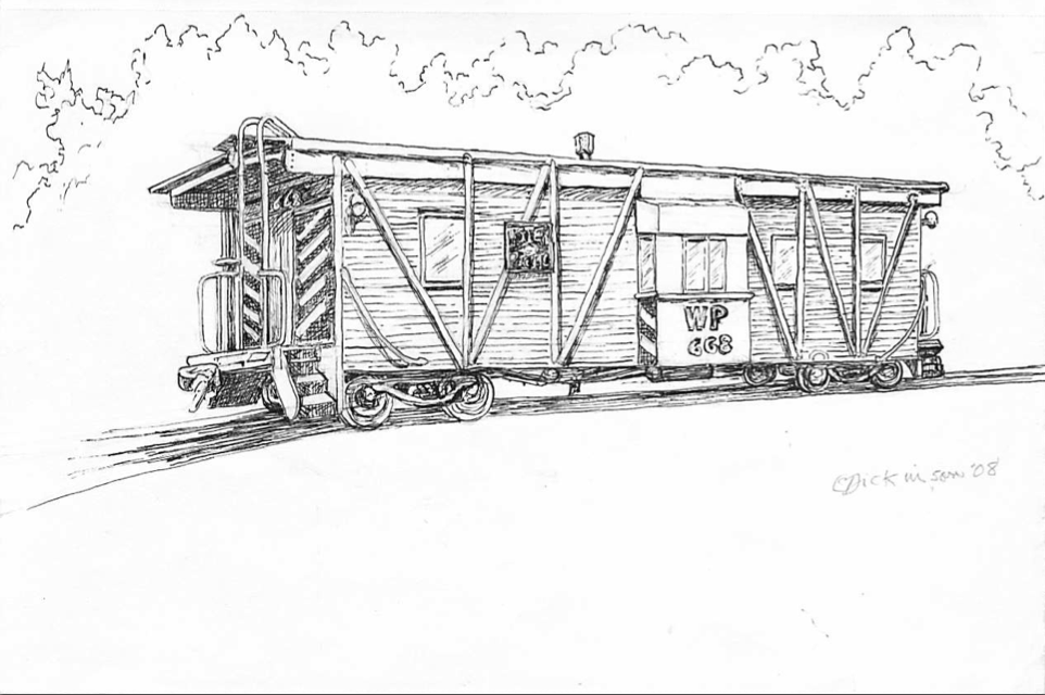 WP668 Caboose drawing by Eleanor Dickinson 2008