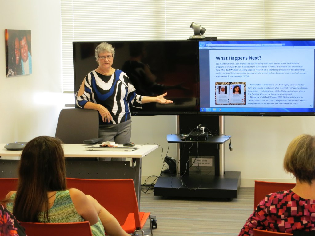 Katy Dickinson presenting TechWomen Mentor Best Practices Workshop 2015