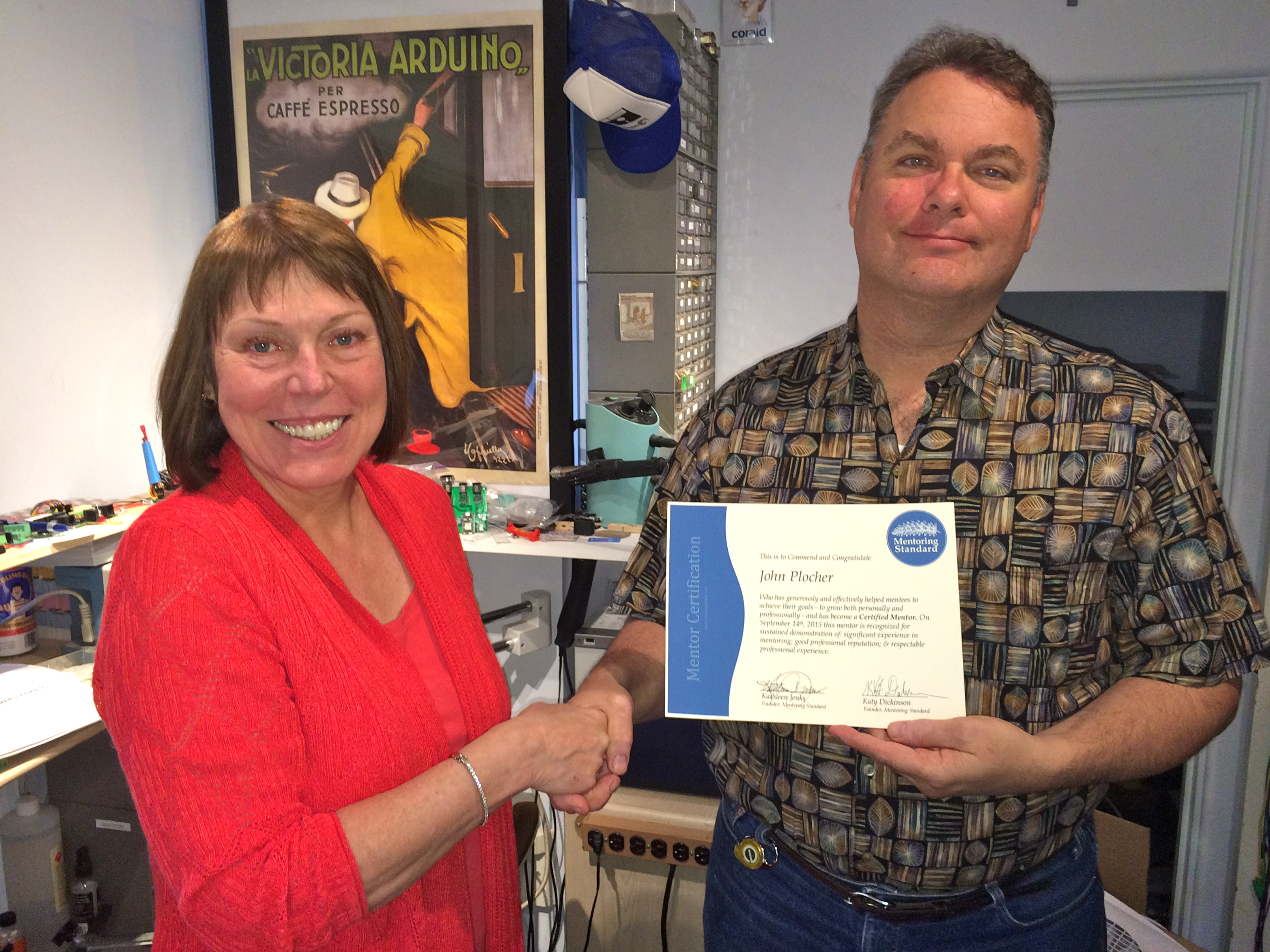 John Plocher received his Mentor Certificate from Kathy Jenks, September 2015