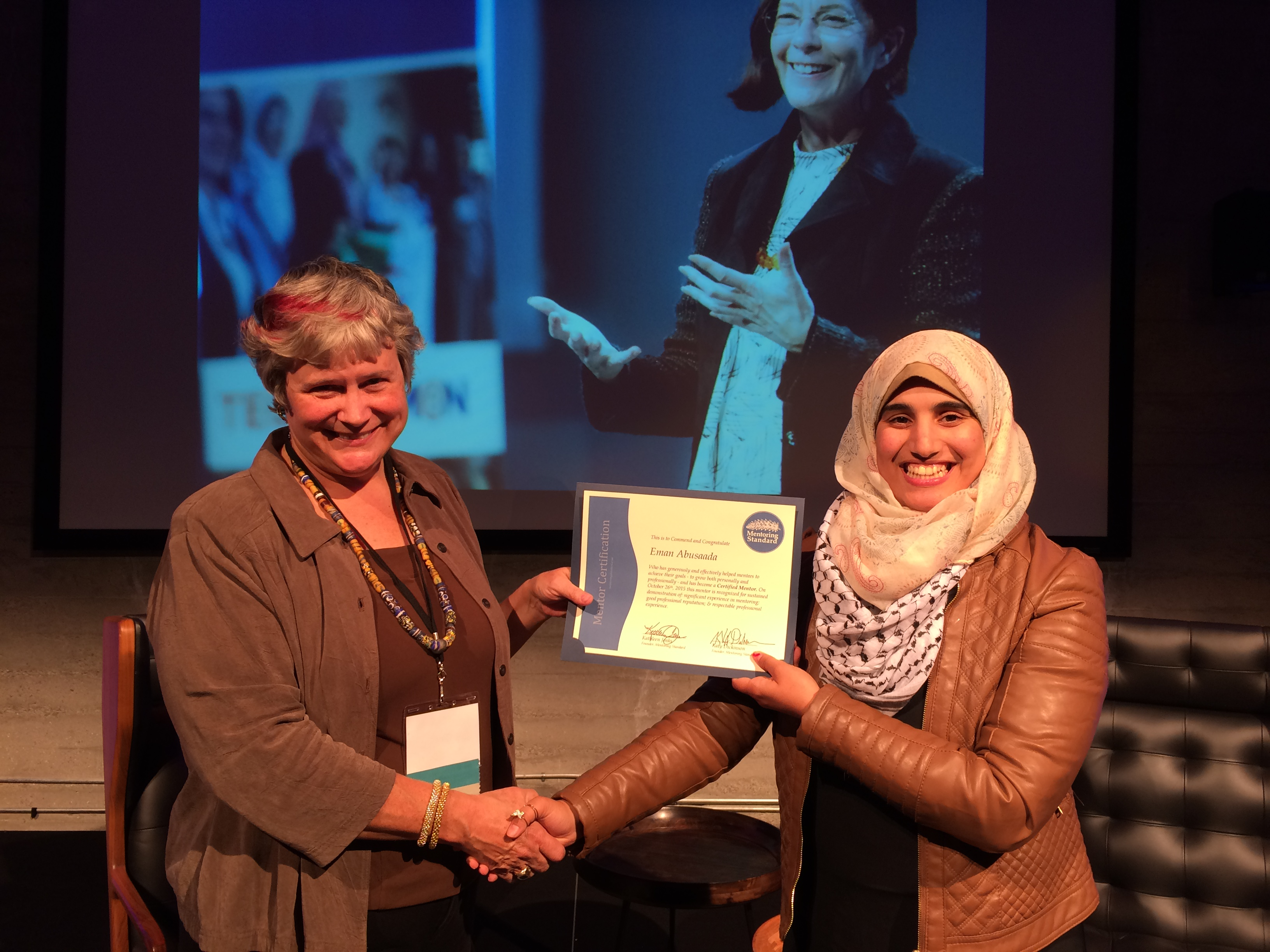 Eman Abusaada received her Mentor Certificate from Katy Dickinson, October 2015