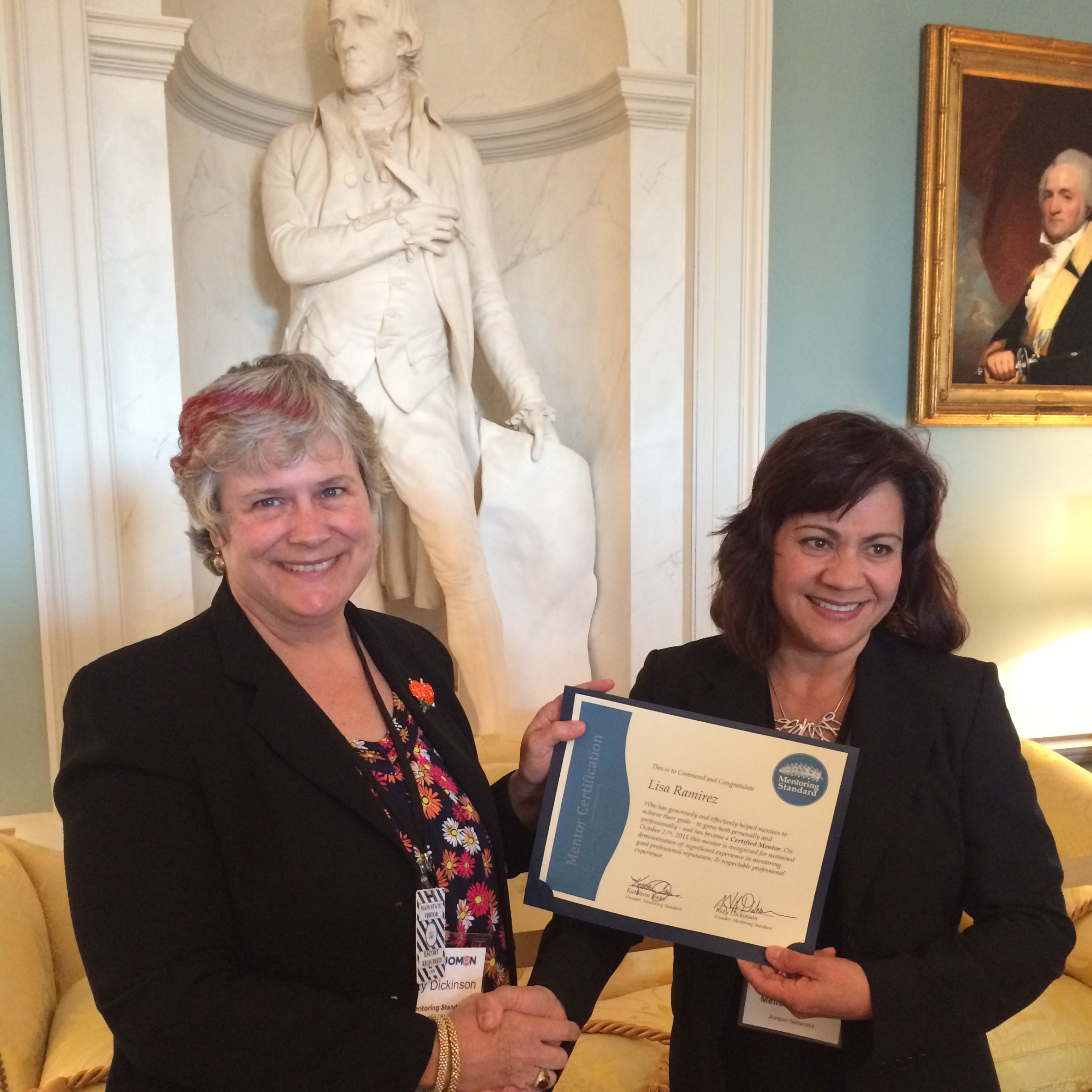 Lisa Ramirez received her Mentor Certificate from Katy Dickinson, October 2015