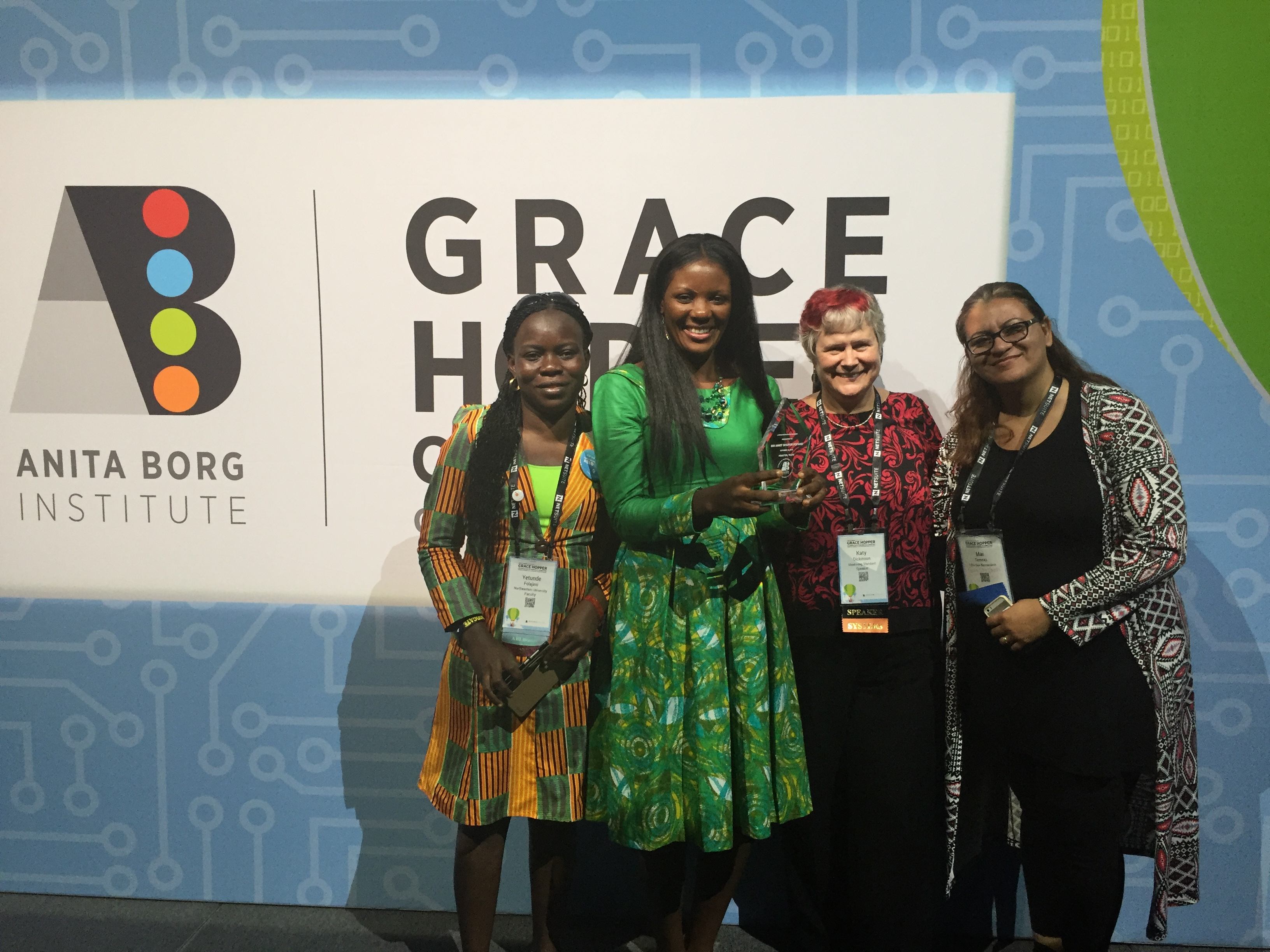 Janet Fofang wins Newton ABIE Educator Award at 2016 Hopper Conference, with Yetunde Folajimi, Katy Dickinson, Mai Temraz
