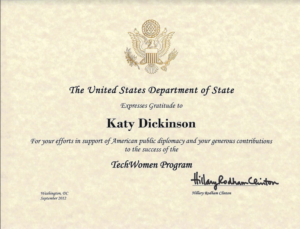U.S. State Department TechWomen Certificate 2012, Katy Dickinson