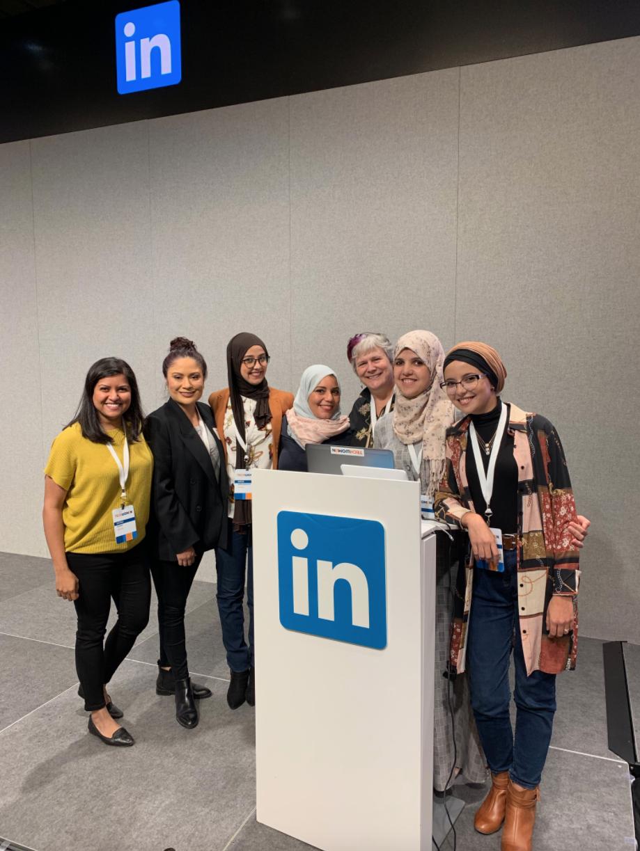 Katy Dickinson with TechWomen Team Algeria 2019